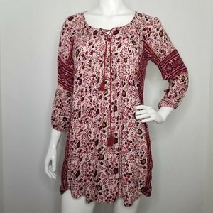 American Eagle Floral Tunic Top Shirt Sm Tassels